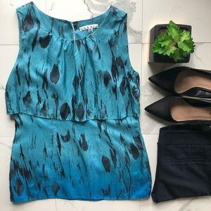 CAbi Blue and Black Silk Blouse